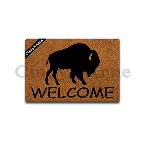 - Cindy&Anne Buffalo Silhouette Doormat Buffalo Welcome Mat Doormat Entrance Floor Mat Funny Monogram Door Mat Decorative Indoor Outdoor Doormat 23.6