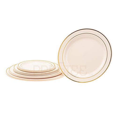 DELUXE PARTY DISPOSABLE PLASTIC DINNER PLATES | 9 Inch Hard Wedding Plates for Lunch | Ivory / Gold Rim 20 Pack | Elegant u0026 Fancy Heavy Duty Party Supplies ...  sc 1 st  Plate Dish. & Rimmed Dinner Plates. Select Settings [60 COUNT] White with Gold Rim ...
