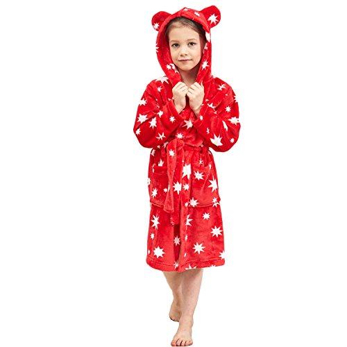 Boys & Girls Bathrobes, Plush Soft Coral Fleece Floral Hooded Sleepwear for Kids Size 6
