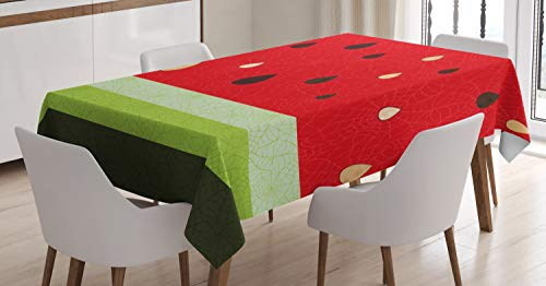 Ambesonne Nature Tablecloth, Macro Watermelon Pattern Fresh Ripe Organic Fruit Seeds Illustration, Dining Room Kitchen Rectangular Table Cover, 60