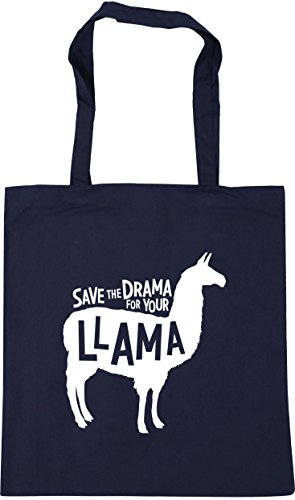 HippoWarehouse Save the Drama for Your Llama Tote Shopping Gym Beach Bag 42cm x38cm, 10 litres French Navy