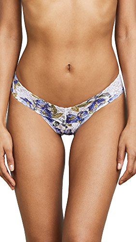 Lace Hanky Rise Thong White Low Panky (Hanky Panky Women's Bonfleur Petite Low Rise Thong, White/Blue, One Size)
