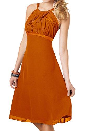 Orange lo Hi Abschlussballkleider mia Abendkleider La Partykleider Wadenlang Formalkleider Hundkragen Braut Geraft OZPw7