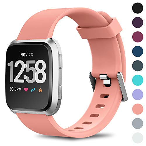 Greeninsync Watch Bands Compatible for Fitbit Versa, Replacement for Fitbit Versa Accessory Band Buckle Adjust Bracelet Straps Small for Fit Bit Versa Wristband Women Men Girls Boys-Peach