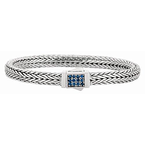 Rhodium argent Sterling plaqué Bracelet tressé tout 6 JewelryWeb poli