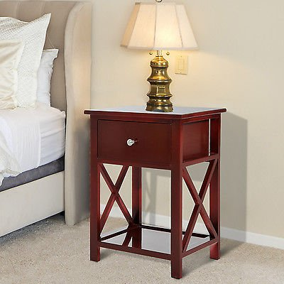 Wooden End Side Bedside Table Nightstand Bedroom Decor w/ Drawer & Bottom Shelf - Weathered Pine Log Set
