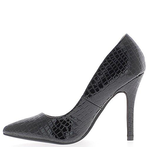 Scarpe donna verniciato nero 10,5 cm tacco sguardo acuto croco