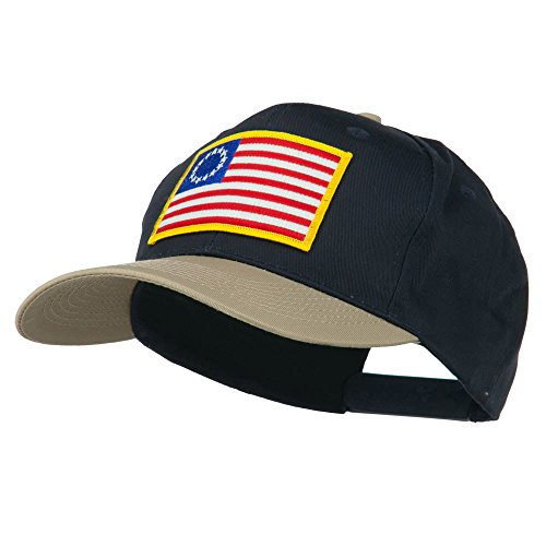 [Betsy Ross Flag Patched Cotton Twill Pro Style Cap - Khaki Navy OSFM] (Betsy Ross Hat)