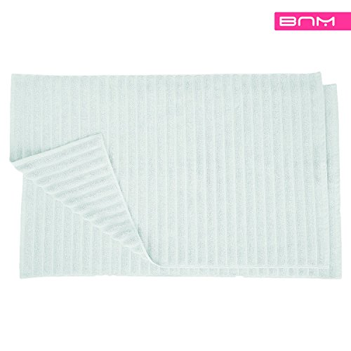 Blue Nile Mills 1000 GSM Premium Combed Cotton Bathroom Mat Set, Lined Design, 22 x 35-Inches (2 Pack), Solid Fabric, Aquamarine