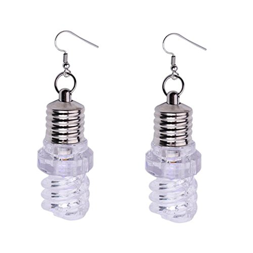 Novel Earring Kinghard Women ear cuff earring dangle earrings for women Light Up Blinking Bulb Ear Hook Dangle Jewelry Women LED Earring,Creative, Funny and Lovely, 1Pair (B, Clear)