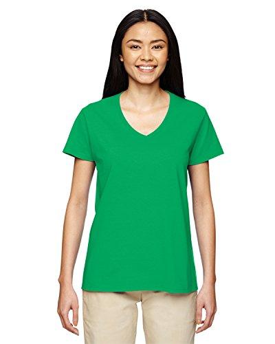 Womens Irish T-shirt V-neck - Gildan Heavy Cotton Ladies' V-Neck T-Shirt, Irish Green, XX-Large