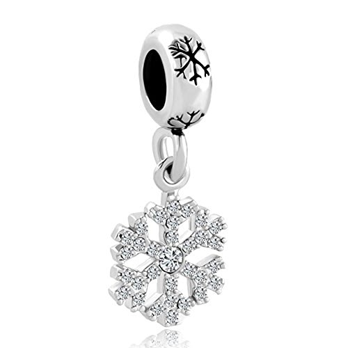 LovelyJewelry Snowflake Dangling Charm Beads For Bracelet