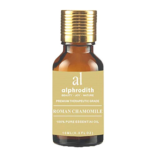 Alphrodith Aromatherapy Roman Chamomile Essential Oil 100% Pure Undiluted Therapeutic Grade Scented Oils - 10ml for Diffuser, Relaxation, Skin Therapy & More