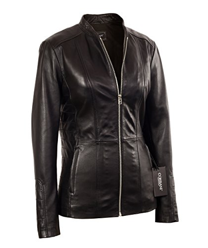 Womens Black Moto Mid Length Lambskin Real Leather Jacket (Small, Black) (Ladies Leather Mid Length Jacket)