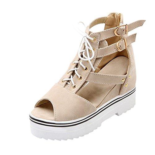 Carolbar Kvinna Specialdesignade Fler Spänne Mode Spets-up Peep-toe Plattform Kilar Sandaler Beige