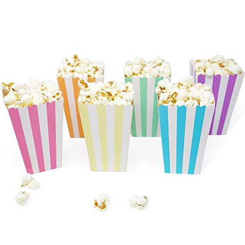 Mini Popcorn & Candy Favor Treat Boxes for Birthday, Bridal and Baby Shower - Polka Dot, Chevron, Striped Assorted Designs - 36 Count (Unicorn Pastel Mix) -