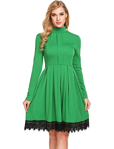 Justrix Womens Vintage Mock Turtle Neck Lacy Pleated Tea Party Swing Dress Green X-Large - Lace Trimmed Turtleneck