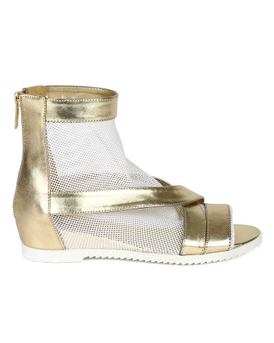 Breckelle Bk73 Kvinnor Metalliskt Läder Mesh Strappy Öppen Tå Sandal Bootie - Guld