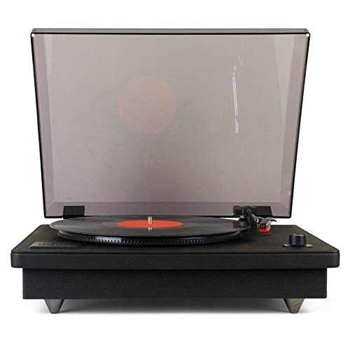 Tyler TTT603-BK Vinyl Black Record Player Stereo System with Built-in Speakers, MP3 Player and USB Recording, Bluetooth, Headphone & Aux Input, RCA Line-Out