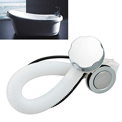 Lljin Concealed Bath Overflow Waste Pop-Up Plug Plastic Pipe and Chrome Handle
