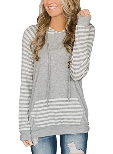 - HOTAPEI Ladies Drawstring Lightweight Long Sleeve Pocket Casual Fashion Hooded Sweatshirt Women Stripes Hoodies with Hood Plus Size Grey XX-Large