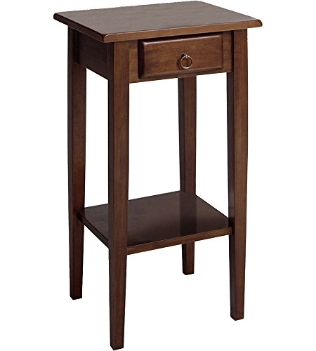 K&A Company Regalia Accent Table with Drawer - Antique Walnut, 29.5