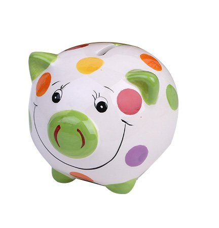 ZCHING Ceramic Pig Piggy Bank Savings Coin Banks Personalized Nursery Decor for Kids Baby Girl Gift (Pig Personalized)