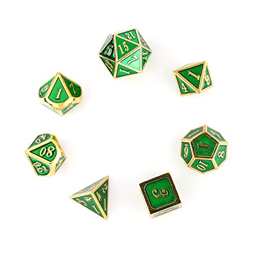 Flymall Metall 7 Dice Set Board Game (Imitation Gold Transparent Green) by Flymall