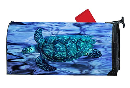 Popular Mailbox Cover Magnetic, Personalized Turtle MailWrap Mailbox Makeover Cover - Vinyl with Full Magnet on Backside - Cosmic Blue Turtle Abstract by Custom Mailbox Covers