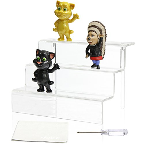 Acrylic Riser Stand Shelf for Amiibo Funko Pop Figure Display, 3 Steps Acrylic Display for Decoration and Organizer-Small, 3-Tier, Clear(9x6 inch)