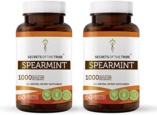 Secrets Of The Tribe Spearmint Capsules 500 mg Organic Spearmint Mentha spicata Dried Leaf, Women s Hormone Support Supplement 2×60 Capsules
