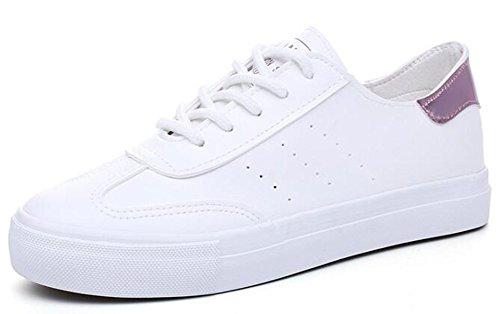 Idifu Klassieke Klassieke Platte Skateboard Skateboarden Sneakers Wit 3