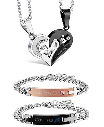 Jstyle 4Pcs Couple Necklace Bracelets Matching Set for Women Men Love Heart Pendant Necklace His & Hers Bracelets Couple ()