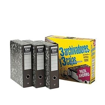 Uni-System P4004303 - Pack de 3 archivadores con cajetín, formato folio, Unidades contenidas: 1: Amazon.es: Oficina y papelería