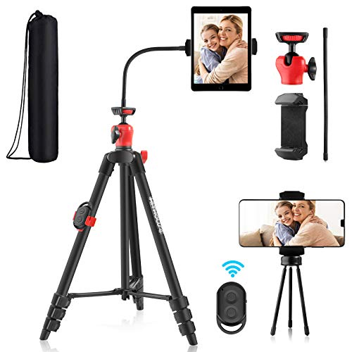 Kithouse Phone Tripod for iPhone iPad Android Cell Phone Camera Tablet Tripod Stand with Remote, Phone Tablet Holder…
