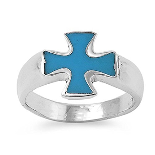 Sterling Silver Simulated Turquoise Cross Ring 14mm ( Size 8 to 13 ), 13