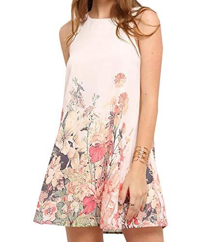 Joe Wenko Womens Floral Print Casual Tank Tops Sleeveless Sundress Mini Dress White XS