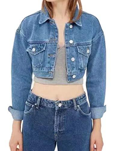 GRMO Women Stand Collar Moto Stretch Denim Jean Jacket Blue US XS