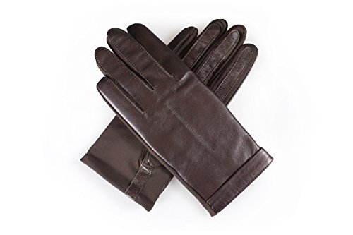 Genuine Leather & Lycra / Spandex Super Stretch Fit Driving Gloves By Corder London (Brown / Brown)