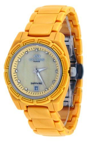 Oniss #ON7702-L Women's Crystal Index MOP Dial Yellow Ceramic Watch