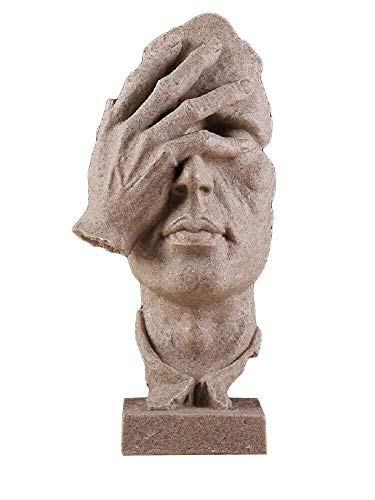 Sculpture Sandstone - Creative Abstract Decor The Thinker Statue Face & Hand Statues and Sculptures Office Desk Decor Keep Silence Figurine (No See Sand)