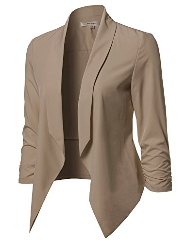 Solid Open Front Shirring Sleeve Blazer Mocha Size L