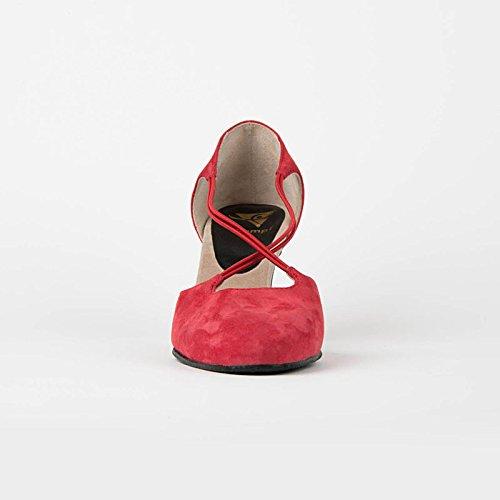 Scafo 9112 Scarpe Da Ballo Scarpe Da Ballo Latino Rumeno Salsa Rumba Tango, Tacco In Pelle Cromato 7 Cm Made In Italy Rosso