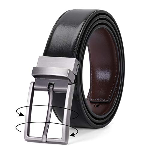 Men's Belt, Leather Reversible Belt for Men Black/Brown Dress Belt Rotate Buckle (g-Black/coffee, Suit for waist size 47