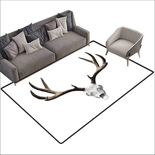 Indoor Super Absorbs Doormat Antlers Decor,A Deer Skull Skeleton Head Bone Halloween Weathered Hunter Collection 80