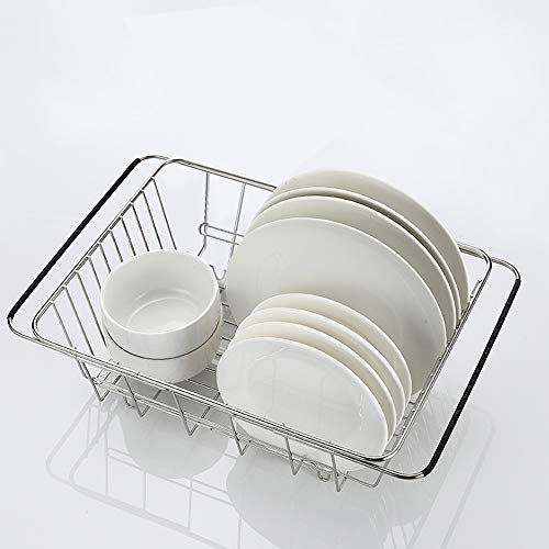 (SZUAH Adjustable Over Sink Dish Drying Rack, Expandable Dish Rack, 18/8 Stainless Steel Dish Drainer for Counter top or Sink (13