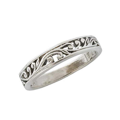 HCGems Sterling Silver Stack Ring Ornate Scroll Size 9