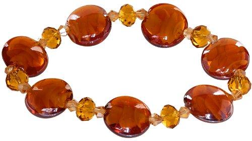 Genuine Italian Murano Glass - Ace Of Diamonds Helaine Italian Murano Glass Stretch Bracelet (Amber)