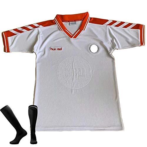 CWWAP Camiseta de fútbol de Dinamarca 1998 Retro Camiseta con calcetín, Uniforme de fútbol de visitante de la selección…