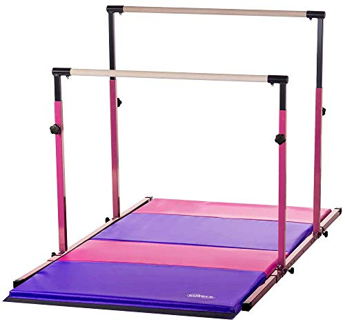 Nimble Sports Pink Parallel Bars with Pink and Purple Folding Mat Combo